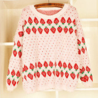 Sweet Pastel Strawberry Sweater