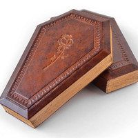 The rose on a coffin leather journal, 8 x 5.5 in, vampire, dracula, rose, halloween, sanctuary, night, lady, women, unique gift, gift box