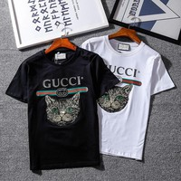 Gucci Woman Men Fashion Mystical Cat Tunic Shirt Top Blouse