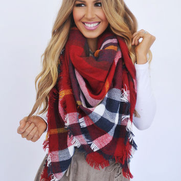 Plaid Blanket Scarf- Red/Navy