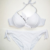 2 PCS Women Hot Sexy White Swimsuit Swimwear Bathing Push Up Padded Bra Bikini WY7 = 1956738436