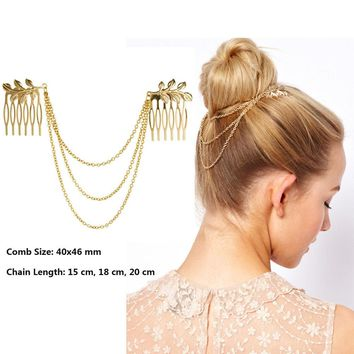 Cheap-fine Vintage Hair Accessories Double Gold Chain With Leaf Comb Head Headbands For Women Girl Lady