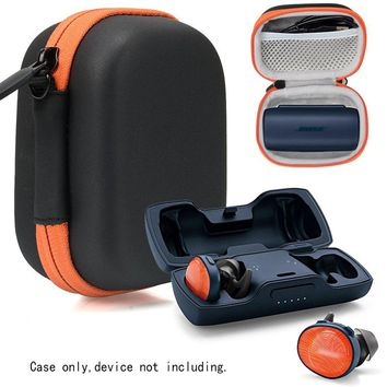 Featured Protective Case for Bose SoundSport Free Truly Wireless Sport Headphones Charger Box, Mesh pocket for Cable and other accessories (Frosted Black with orange zipper)