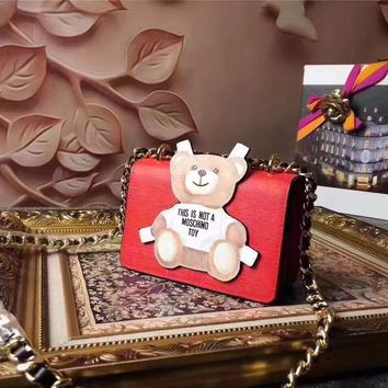 Moschino Women's Teddy Bear Leather Chain Shoulder Bag #42621 - Best Deal Online