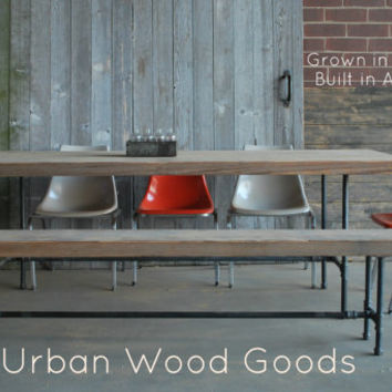 """Industrial modern dining table.Benches additional.84"""" l x 34"""" w x 30""""  tall"""