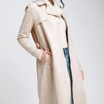 Collin Light Beige Vegan Suede Trench Coat