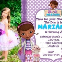 12 Doc McStuffins Birthday party invitations personalized custom PRINTED