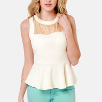 Mind Your Manners Cream Peplum Top