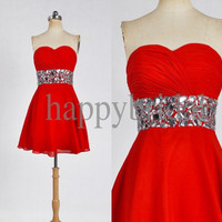Short Red Beaded Prom Dresses Strapless Bridesmaid Dresses 2014 New Fashin Formal Pary Occasions Wedding Events