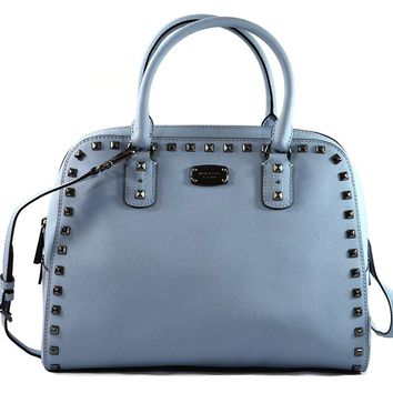Michael Kors Saffiano Leather Stud Crossbody Bag Pale Blue
