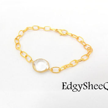 Lucite Gold Chain Bracelet, Everyday Layering Bracelet, Crystal and Gold link Chain, Everyday Bracelet