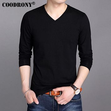 Cotton T Shirt Men Spring New Long Sleeve T-Shirt Men Classic Solid Color V-Neck T-Shirts