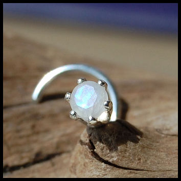 Rainbow Moonstone and Sterling Claw Set Nose Stud - CUSTOMIZE