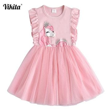 VIKITA Brand Girls Unicorn Summer Dresses Children Sequins Tutu Dress Kids Flare Sleeve Cotton Frocks Baby Girl Princess Clothes 1