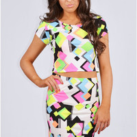 Laszlo Geometric Bold Neon Print Two Piece Set
