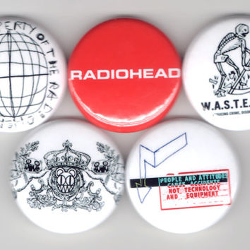 Radiohead - Set of 5 - OK Computer The Bends Alternative Rock Experimental Buttons Pins Badges Pinback