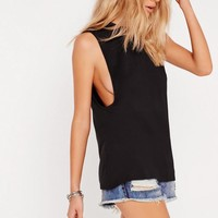 Missguided - High Neck Drop Armhole Vest Black