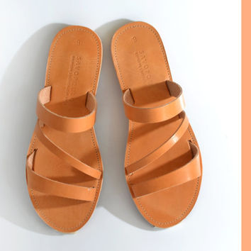 Sandals, Leather sandals with three straps, Greek sandals