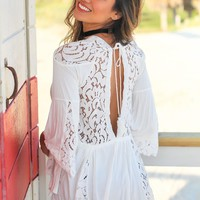 Ivory Top with Crochet Detail and Open Back
