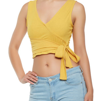 Tie Waist Faux Wrap Crop Top