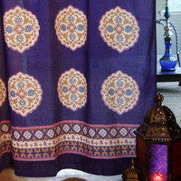 Purple Blue Curtain, Moroccan Curtain, Vintage Curtain, Sheer Cotton Curtain Panel