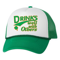 Drinks well with others dual color trucker hat