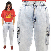 Vintage 80s Bugle Boy Global Acid Wash Baggy Denim Jeans Pants Bottoms