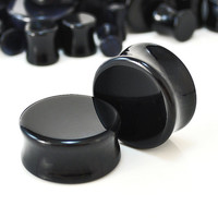 "Pair of Black Onyx Ear Plugs - Double flare saddle design, beautifully polished, available in 14 sizes from 4g (2mm) - 1.5"" (38mm)"