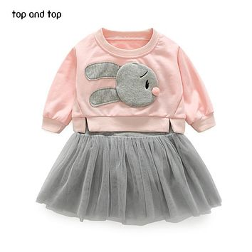 Top and Top Children Girls clothing sets rabbit t shirt +vest lace dresses 2 pcs/sets fashion Kids girl dress clothes suits
