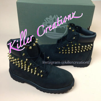 Custom spiked BLACK Timberland boots -any size - made to order