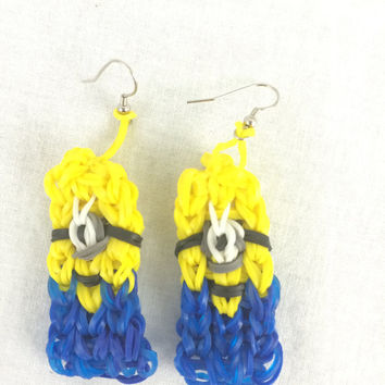 Despicable Me Minion Earrings Handmade Rainbow Loom Perfect for the Movies