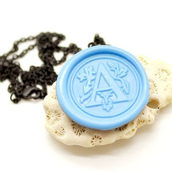 Personalized Monogram Wax Seal Necklace - Custom Initial - 26 Colors Available
