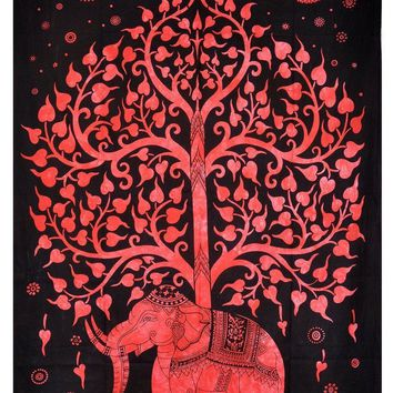 Red Elephant Tree Bohemian Boho India Wall Hanging Tapestry Beach Bed