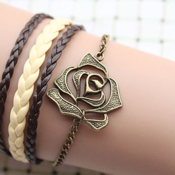rose bracelet,retro bronze unique rose pendant alloy bracelet,yellow and brown leather braid bracelet---B074