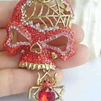 Women Accessories Gold-tone Red Pink Rhinestone Crystal Spider Skull Skeleton Brooch Art Deco Crystal Skull Brooch