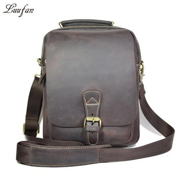 Men's genuine leather shoulder bag brown cow leather tote for iPad Cowhide messenger bag  for daily go out or go work