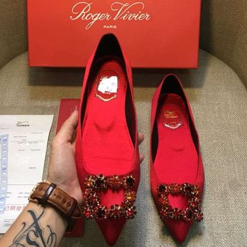 """Roger Vivier"" Fashion Women Crystal Single Shoes Flat Pointy Shoes Red I-AHD-HNXG-ZD"