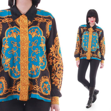Vintage Silk Baroque Button Down Blouse Royal Trophy Swag Scarf Shirt Versace Style 90s Hip Hop Womens Clothing Size Medium