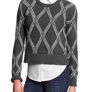 Banana Republic Womens Factory Popcorn Knit Crop Sweater