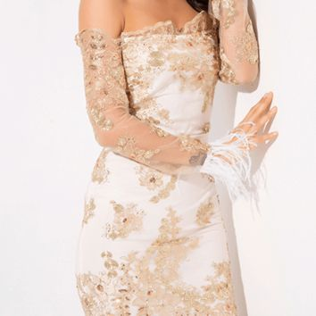 Endless Love Lace Sequin Feather Dress