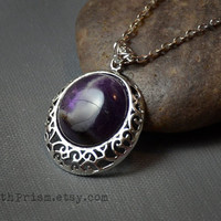 Round Amethyst Pendant | Silver Filigree Pendant | Gemstone necklace | Purple Stone Necklace | Round Stone | Silver Chain or Black Choker