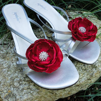 Red Bridal Shoe Clips MARILYN  Red Fabric Flower Wedding Rhinestone Wedding Shoe Clips