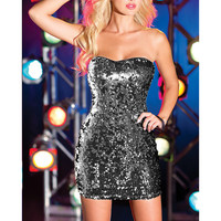 Black Strapless Sequined Bodycon Mini Dress