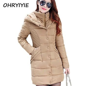 OHRYIYIE Women's Long Winter Jacket Women Parkas 2017 Autumn Hooded Cotton Warm Coat For Female Outerwear Anorak Manteau Femme