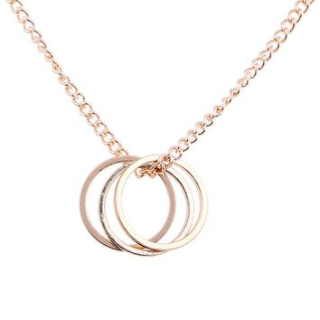 Gold color Silver color Three Circle Necklace