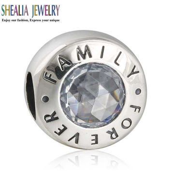 AAA Clear CZ Family Forever Charms Beads 925 Sterling Silver Alphabet Family Beads Diy Brand Logo Bracelets Fits Shealia Jewelry