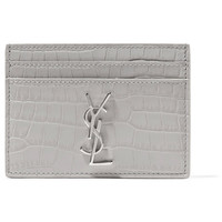 Saint Laurent - Croc-effect leather cardholder