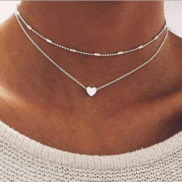 Silver Layered Heart and Bead Chokers