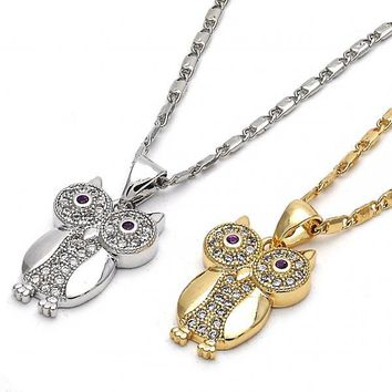 Gold Layered Fancy Necklace, Owl Design, with Cubic Zirconia, Golden Tone