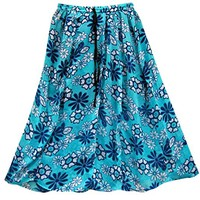 Mogul Womens Blue Skirt Boho Floral Printed Gypsy Casual Skirt